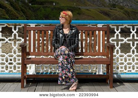 Woman On Bench.