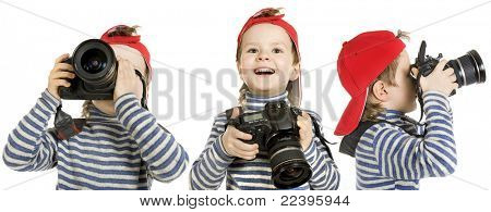 Boy with camera ,isolated on a white background