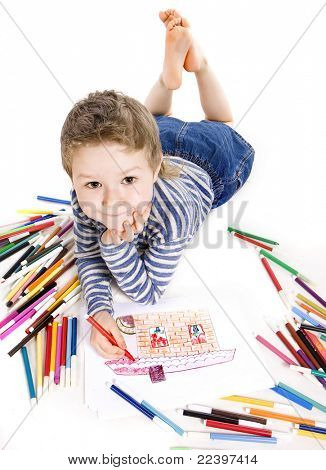 boy drawing a house