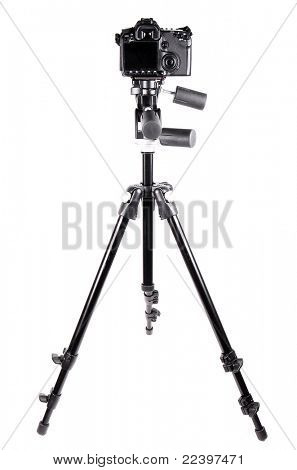 Camera tripod over white