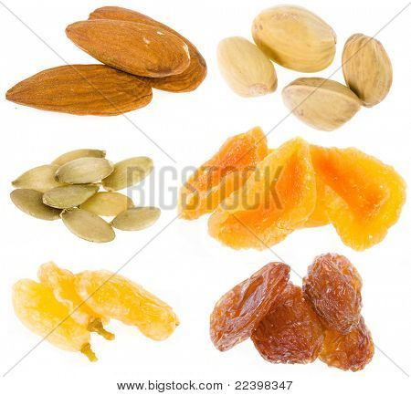 nuts and dried fruits collection isolated on white