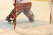picture of ice hockey goal  - Details ice hockey gatekeeper and hockey net - JPG