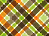 image of fall decorations  - retro orange green brown plaid pattern  - JPG