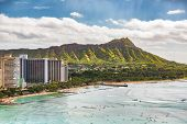 Hawaii vacation travel aerial view of Waikiki beach and Honolulu city with Diamond Head mountain in  poster