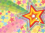 Rainbow Pop retro Shooting Star (Vector)