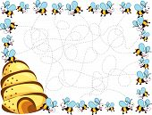stock photo of bee-hive  - cartoon busy bees frame children illustration  - JPG