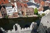 image of gents  - gabled houses along a canal in Gent - JPG