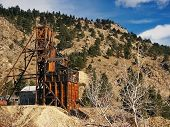 stock photo of ore lead  - Old 1800s historical Gold Mine in Colorado - JPG