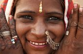 Portrait of a India Rajasthan woman with her henna tattoo