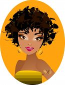 pic of afro hair  - Illustration representing a portrait of a beautiful - JPG