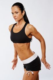 stock photo of athletic woman  - Beautiful woman doing fitness exercise - JPG