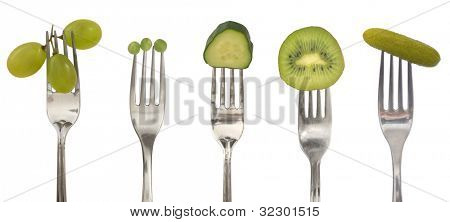 diet concept with green vegetables and fruits