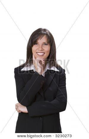 Geschäftsfrau, die lächelnd