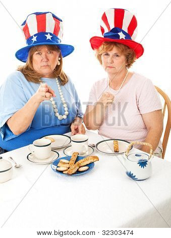 Two angry conservative voters having an actual tea party.  White background.  Room for text at the bottom of frame.