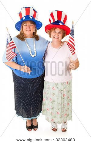A couple of patriotic Tea Party conservative voters.  Full body isolated on white.