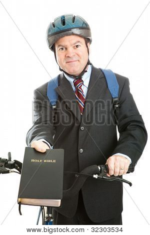 Christian missionary with his bible and bicycle.  Isolated on white