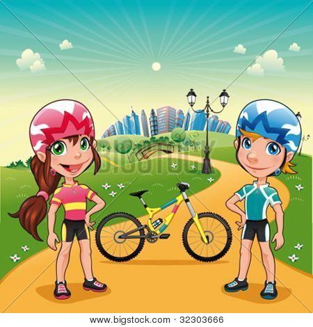 Park with young bikers. Funny cartoon and vector scene.