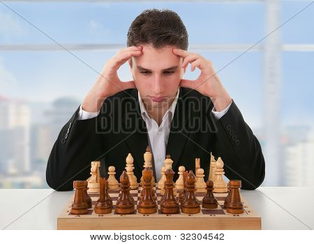 Serious Man Thinks  On Game Of Chess