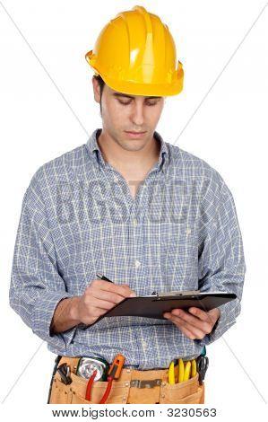 Joven trabajador de la construcción