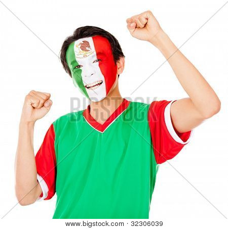 Mexican man celebrating with arms up - isolated over a white background
