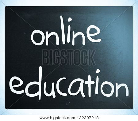 """online Education"" Handwritten With White Chalk On A Blackboard"