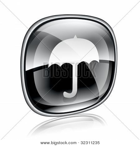 Umbrella Icon Black Glass, Isolated On White Background