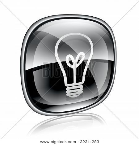 Light Bulb Icon Black Glass, Isolated On White Background