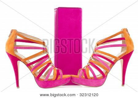 Pare Of Pink And Orange Shoes And A Matching Bag, Isolate On White Background