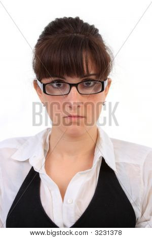 Nervous Young Secretary Portrait