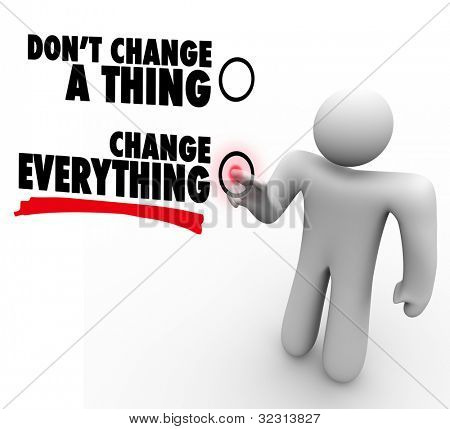 A man presses a button beside the words Change Everything to represent willingness to embrace change and follow new opportunity to success