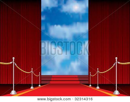 Abbildung der roten Teppich mit Treppen zum Himmel