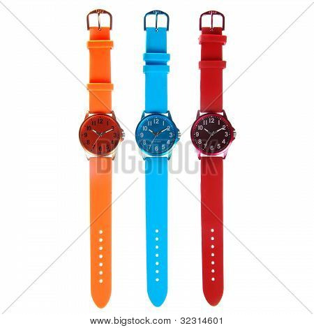 Three Colorful Watches Isolated On White