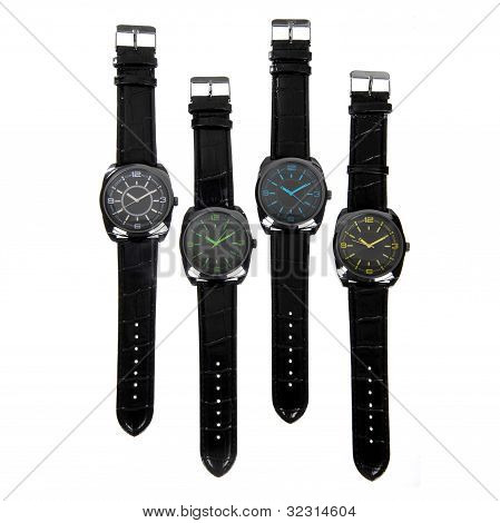 Set Of Black Watches Isolated On White