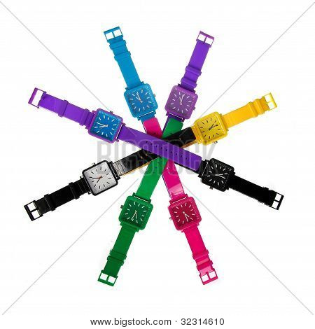 Colorful Set Of Plastic Wrist Watches Isolated On White