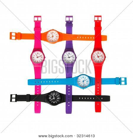 Set Of Plastic Wrist Watches Isolated On White