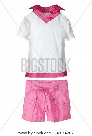 Pink Shorts And T-shirt Isolated On White