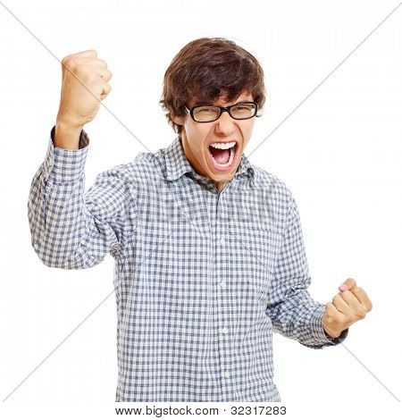 Victory screaming young man in black glasses. Isolated on white background, mask included