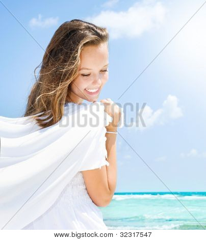 Beautiful Girl Having Fun on the Beach