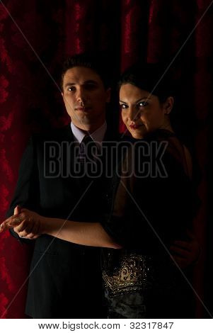 Elegant Couple Dancing In Night