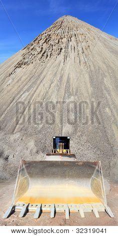 The bulldozer in a mine.