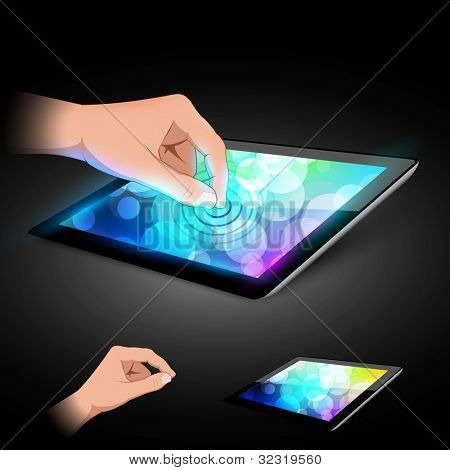 Man hand is touching tablet pc to make gesture. Variant on dark background.
