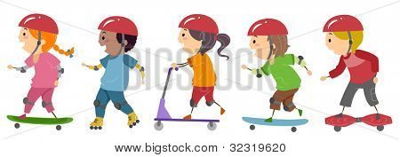 Illustration of Kids Riding on Skateboards