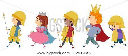 Illustration of Kids Imitating a Royal Parade