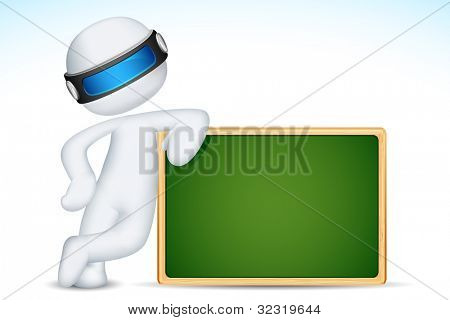 illustration of 3d man standing with chalk board in vector fully scalable