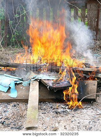 Flame Fire Burning Litter In City Illegal