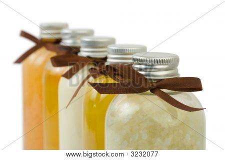 Bottles Of Spa Oil And Salt