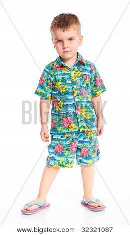 Little cute boy dressed in beach clothes