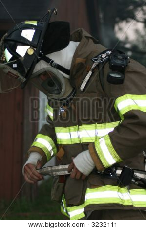 Firefighter Getting Ready