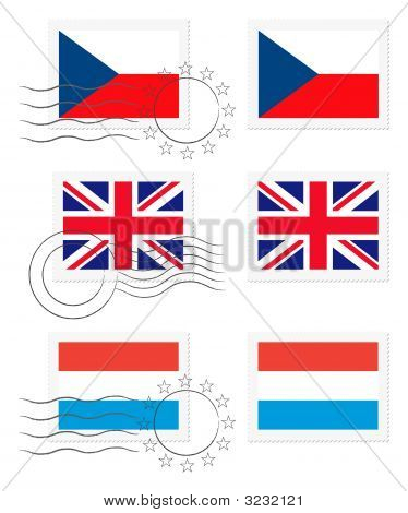 Czech Republic, United Kingdom And Luxembourg - Flags On A Stamp