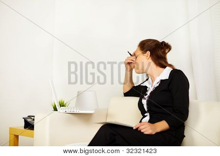 Young Business Woman With Stress